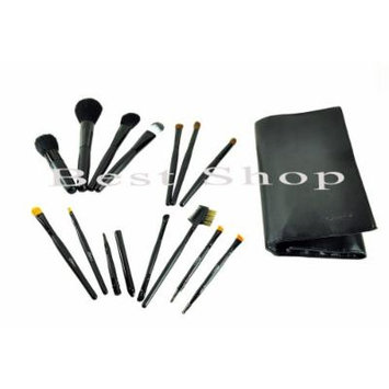 Lady De Professional 14-Piece Cosmetic Brush Set with Leather Pouch (Set of 14 Brushes and 1 Leather Pouch Black)