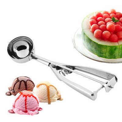 Stainless Steel 5cm Spring Handle Ice Cream Scoop Spoon