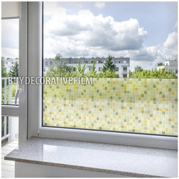 Buy Decorative Film BDF 1GT Window Film Green Tile Non Adhesive Static Cling by BuyDecorativeFilm