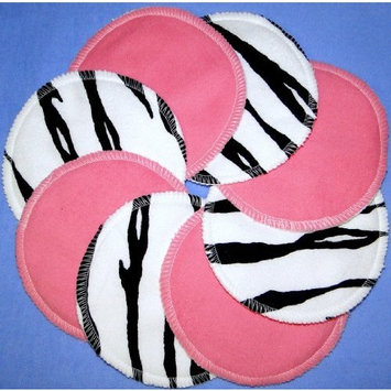 Nursing Pads - Pink & Zebra - 100% Cotton Washable by NuAngel - 8 pads - Made in USA