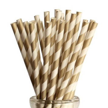Gold Candy Striped Paper Drinking Straws 25 Ct. - Twilight Parties