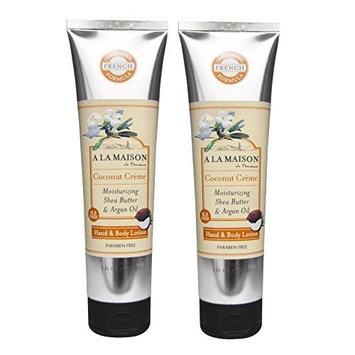 A La Maison de Provence Coconut Cream Hand and Body Lotion (Pack of 2) With Shea Butter, Avocado Oil and Vitamin E, 5 fl oz Each