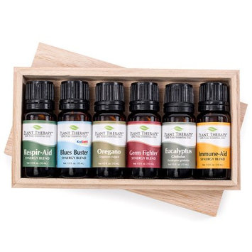 Care Essential Oil Set 10 ml (1/3 oz). 100% Pure, Undiluted, Therapeutic Grade (Blend of: Germ Fighter, Immune-Aid, Respir-Aid, Blues Buster, Eucalyptus and Oregano)