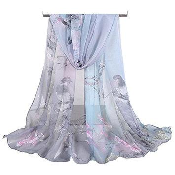 Datework Women Soft Thin Chiffon Silk Animal Bird Printed Wrap Shawl Scarf