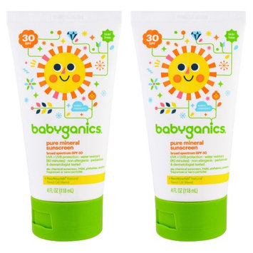 Babyganics Pure Mineral Sunscreen SPF 30, 4 oz (Pack of 2)