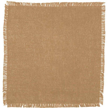 VHC Classic Country Farmhouse Tabletop & Kitchen - Burlap Natural Fringed Tablemat Set of 6