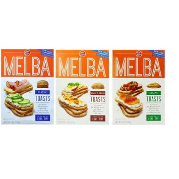 London Melba Toasts Crackers 3 Flavor Variety Bundle: (1) Classic Melba Toasts, (1) Whole Grain Melba Toasts, and (1) Sesame Melba Toasts, 5 Oz. Ea. (3 Boxes)
