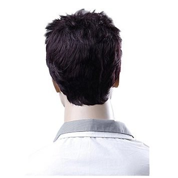 SODIAL(R) Cool Men High temperature silk Wig Wine Red Natural Soft