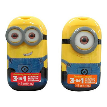 Despicable Me Minion 3-in-1 Bodywash Shampoo & Conditioner Strawberry Banana and Banana Scented Two 14 Fl Oz Bottles
