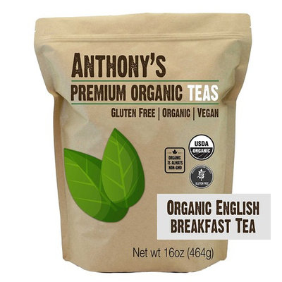 Organic English Breakfast Loose Leaf Tea (16 ounce) by Anthony's, Gluten-Free (1 pound)