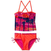 Limited Too Girls' Tropical Photo Real Ruffle Tankini