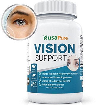 Lutein Eye Vitamins (NON-GMO) : Vision Support Supplement for Dry Eyes with Lutein, Beta Carotene, Bilberry, Grapeseed, Beta-Carotene, Zinc: Made in the USA: 100% Money Back Guarantee - 60 Capsules