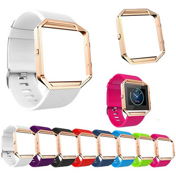 Girl12Queen Soft Silicone Watch Band Replace Sport Strap with Rose Gold Frame for Fitbit Blaze