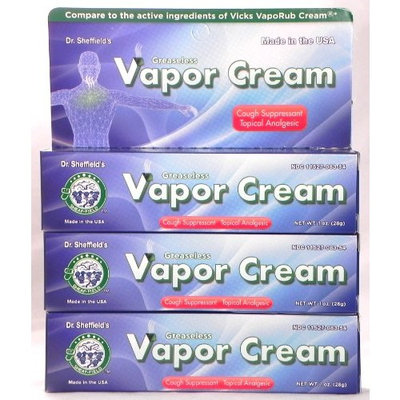 Dr. Sheffield's Greaseless Vapor Cream Cough Suppressant 1 oz A lot of 3 Dr. She Good Quality for Everyone Fast Shipping Ship Worldwide