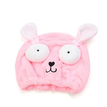 uxcell Pink Cartoon Dog Polyester Quick Dry Hair Wrap Cap Absorbent Spa Bath Shower Hat