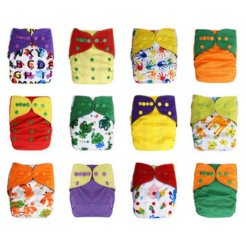EcoAble Baby 12-Pack Pocket Cloth Diapers +24 Inserts Bundle Set (Unisex 3)