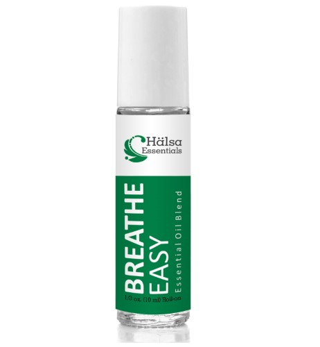 Basic Vigor Nutraceuticals Breathe Easy Essential Oil Blend Roll-On Aromatherapy for Respiratory and Nasal Congestion from Halsa Essentials