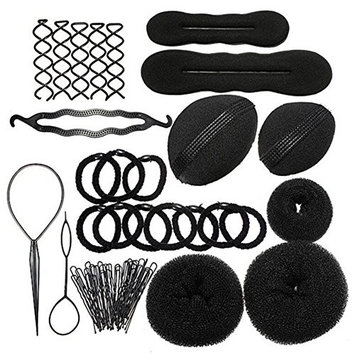 Sanwood Bun Maker Roller Braid Twist Elastics Pins Hair Design Styling Tools Kit ,Black