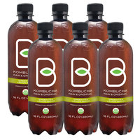 B-Tea Kombucha Lemon Balm Green Tea, 16 Fl Oz (Pack of 6)