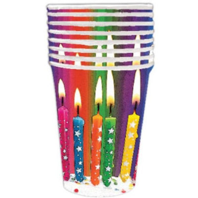 DDI 1998112 Birthday Bright Candle 9 oz Cup - 8 Count Case of 24