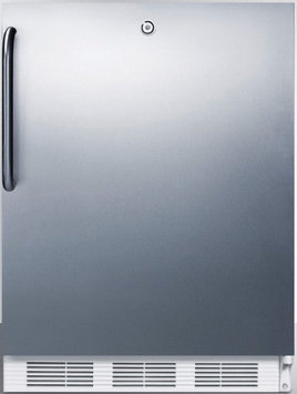 SUMMIT Commercially approved, ADA compliant all-refrigerator for freestanding use, with stainless steel door, towel bar handle, and lock