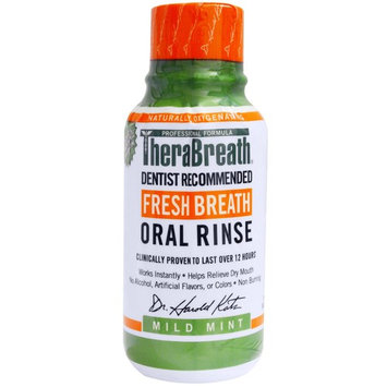 TheraBreath, Fresh Breath Oral Rinse, Mild Mint Flavor , 3 fl oz (88.7 ml) [Flavor : Mild Mint]