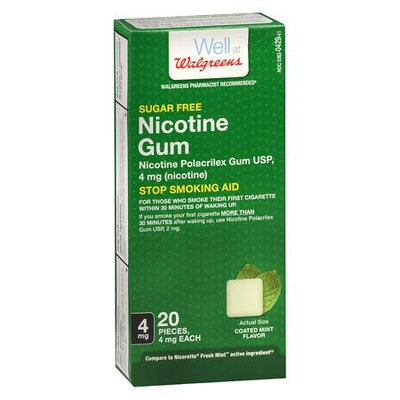 Walgreens Nicotine Gum Coated 4 mg Mint - 20 ea