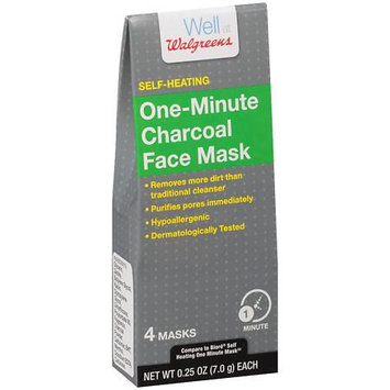 Well at Walgreens Self-Heating One Minute Charcoal Face Mask - 4 ea