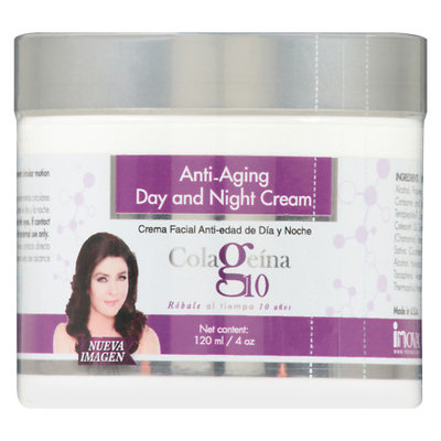 Colageina 10 Anti-Aging Day and Night Cream 4oz, Crema Facial Anti-Edad de Dia y Noche 120ml