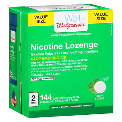 Walgreens Nicotine Lozenges 2 MG Sugar Free Mint - 144 ea