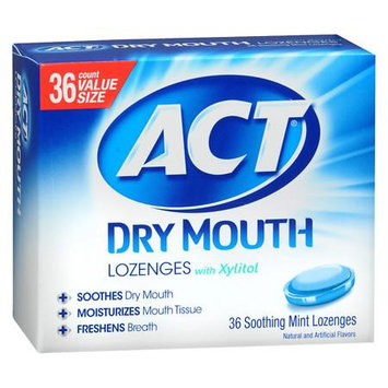 Chattem Inc ACT Dry Mouth Soothing Mint Lozenge with Xylitol, 36 count