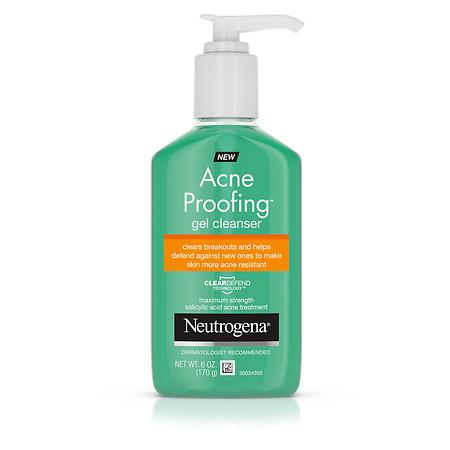 Neutrogena Acne Proofing Salicylic Acid Daily Acne Treatment Gel Facial Cleanser and Wash, 6 oz