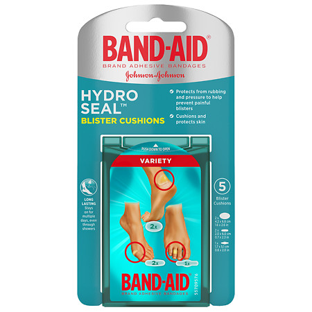 Band-Aid Brand Hydro Seal Bandages Blister Cushion, Variety Pack Of Waterproof Blister Pad, 5 Count