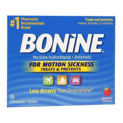 Bonine Chewable Tablets for Motion Sickness, Raspberry, 16 ea