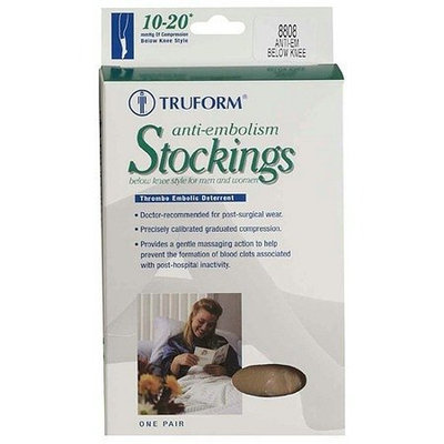 Truform 8808, Compression Stockings, Anti-Embolism, Knee High, Closed Toe, 18 mmhg, White, Medium