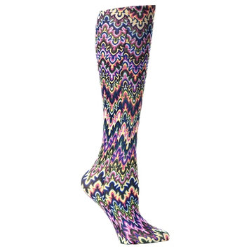 Celeste Stein CMPSQ Blue Fleur Missoni Therapeutic Compression Sock