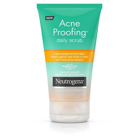 Neutrogena Acne Proofing Daily Salicylic Acid Acne Treatment Exfoliating and Cleansing Face Scrub, 4.2 oz
