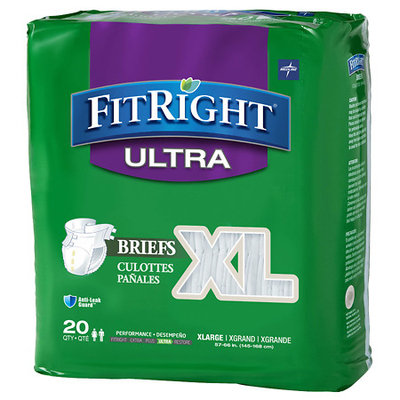 Medline FitRight Ultra Briefs (Pack of 20), Extra Large