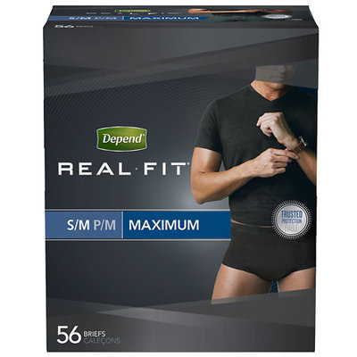 Depend Real Fit Black Maximum Absorbency S/M Incontinence Briefs for Men 56 ct Pack