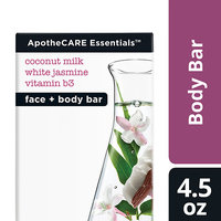 ApotheCARE Essentials The Rejuvenator Coconut Milk, White Jasmine, B3 Face and Body Bar Soap 4.5 oz