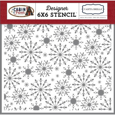 Echo Park Paper Carta Bella Stencil 6'X6'-Frosted Snowflakes