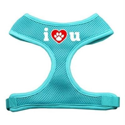 Mirage Pet Products 7030 LGAQ I Love U Soft Mesh Harnesses Aqua Large