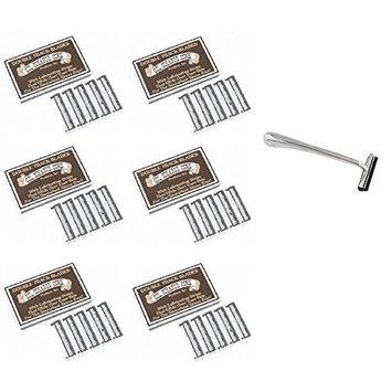Trac II Chrome Handle + Colonel Ichabod Conk Trac II Razor Blades 10 ct. (Pack of 6) + FREE Scunci Black Roller Pins, 18 Pcs