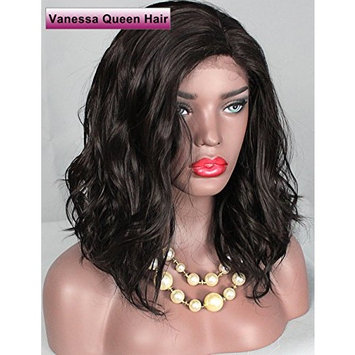 Vanessa Queen #4 Brown Color Short Bob Wigs Synthetic Lace Front Wig Body Wave Wigs with Natural Hairline For Black Women