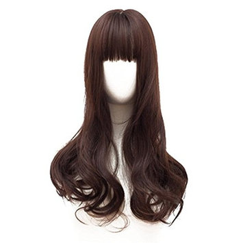 BESTLEE Long Wavy Synthetic Middle Part Clip in Hair Topper Mono Top Hairpiece with Air Bang for Women (Light Brown)