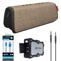 Fugoo Style XL Port. Waterproof B.tooth Speaker Sand/Black w/Power Bank Charger Bundle