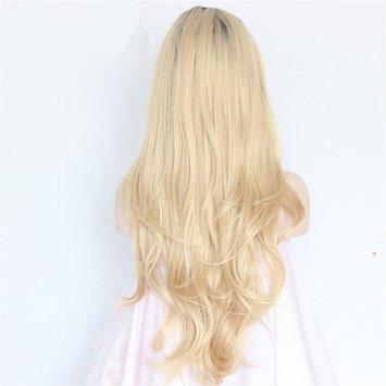 Cool Shiny Fashion Ombre Blonde Glueless Lace Front Wigs for White Women Natural Straight Heat Resistant Synthetic Hair Replacement Wig For Women 24