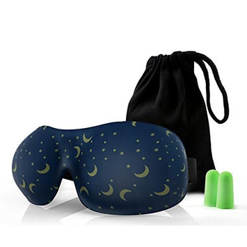 Lonfrote Star Moon Deep Molded Sleep Mask, with ear plug and carry pouch lightweight & comfortable eye mask, Super Soft Material