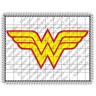 Whimsical Practicality Wonder Woman Logo Edible Icing Image Cake Topper (6 Inch Round)