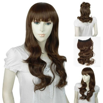 Landisun NEW SN012 Light Brown One Piece Long Curly/Wavy Hair Extension Clip-on